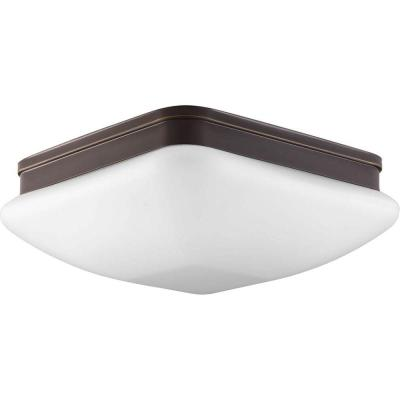 Appeal Collection 3-Light Antique Bronze Flush Mount with Square Opal Glass