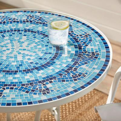 28 in. Coastal Glass Mosaic Outdoor Patio Bistro Table