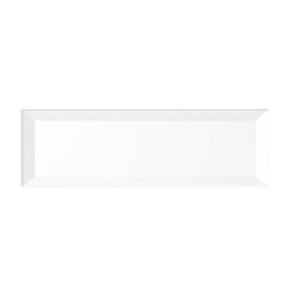 Secret Dimensions 3 in. x 12 in. White Glass Beveled 3D
