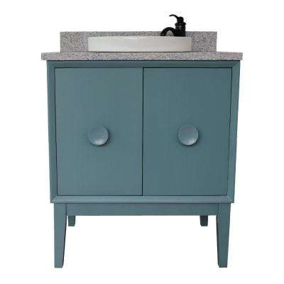 Stora 31 in. W x 22 in. D Bath Vanity in Aqua Blue with Granite Vanity Top in Gray with White Round Basin