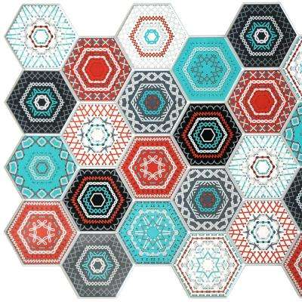 3D Falkirk Retro 10/1000 in. x 38 in. x 19 in. Multicolor Hexagon Mosaic PVC Wall Panel