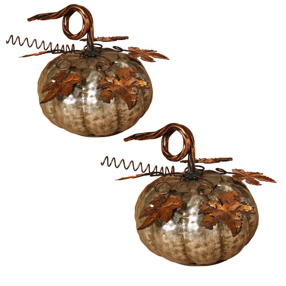 6.75 in. Silver Harvest Pumpkin (Set of 2)