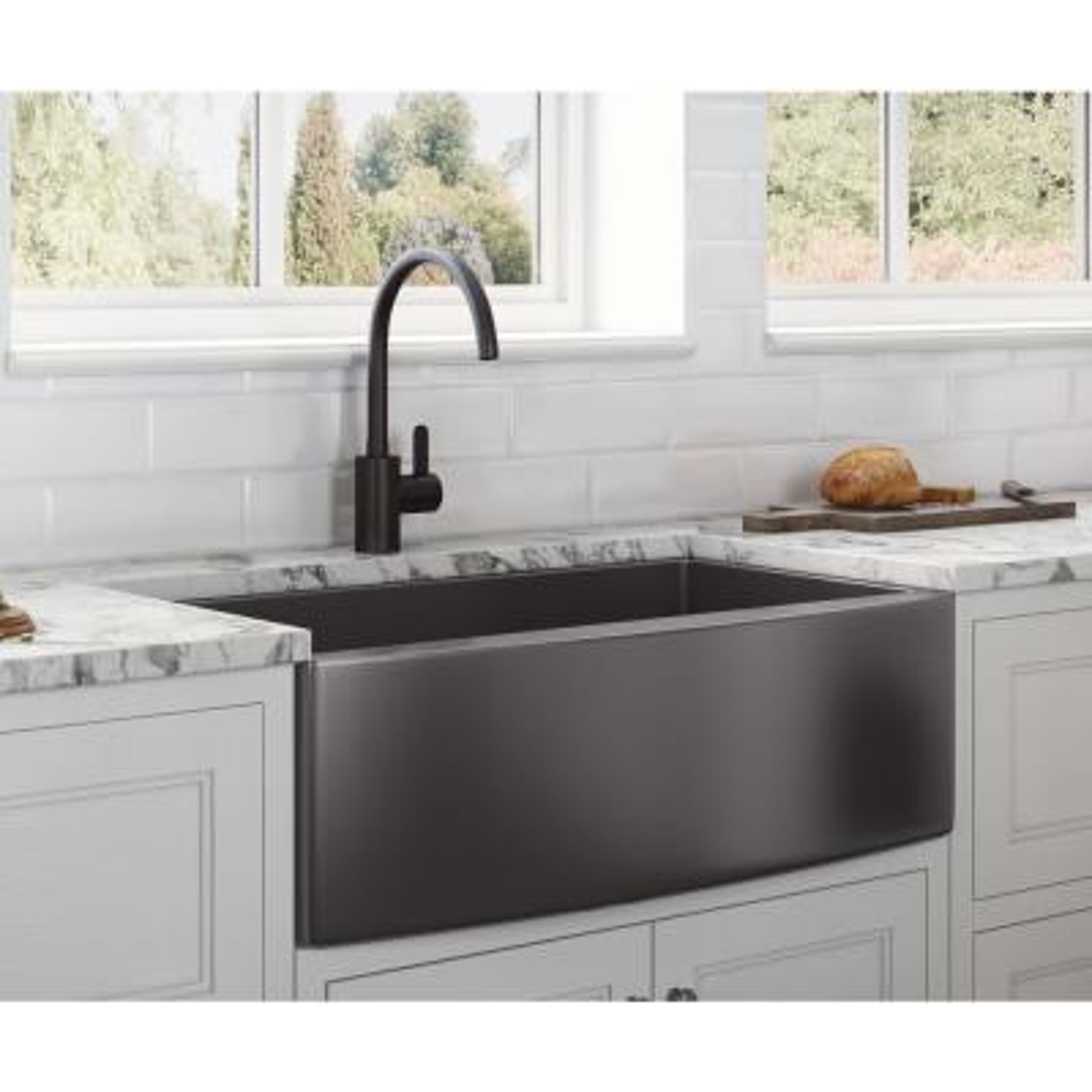 Farmhouse Apron-Front Stainless Steel 36 in. Single Bowl Kitchen Sink in Gunmetal Black Matte