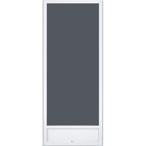 36 in. x 80 in. Still Waters White Aluminum Screen Door