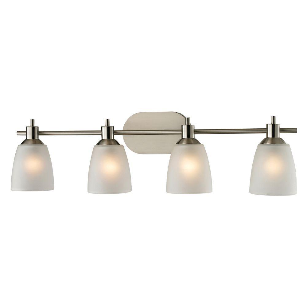 Titan Lighting Jackson Light Brushed Nickel Wall Mount Bath Bar - 4 light bathroom fixture brushed nickel