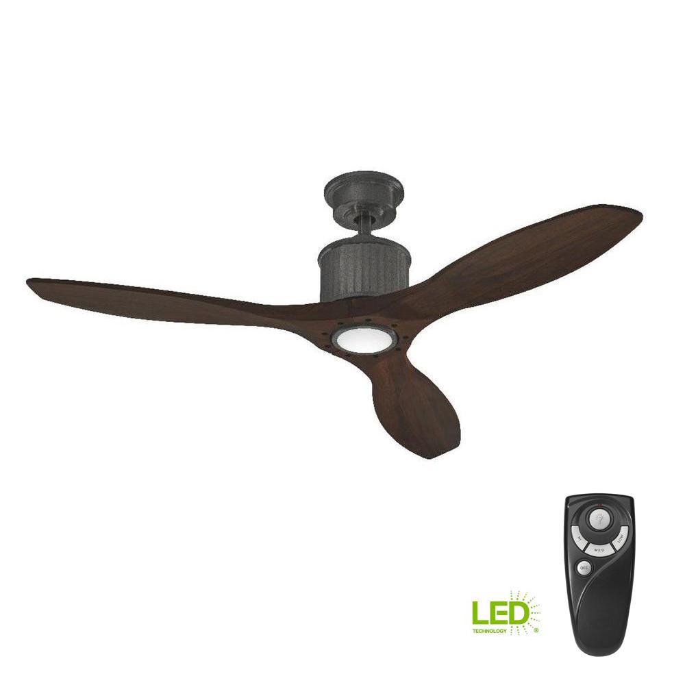 Home Decorators Collection Reagan II 52 in. LED Indoor Natural Iron Ceiling Fan with Light Kit and Remote Control