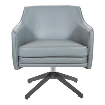 Faux Leather Swivel Guest Chair in Grey Faux Leather with Black Base