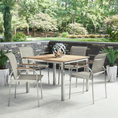 Aruba 5-Piece Steel and Teak Wood Square Outdoor Dining with Taupe Fabric Chairs