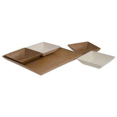 EVO Sustainable Goods Light Brown Eco-Friendly Wood-Plastic Composite Serving & Snack Set (Set of 5)