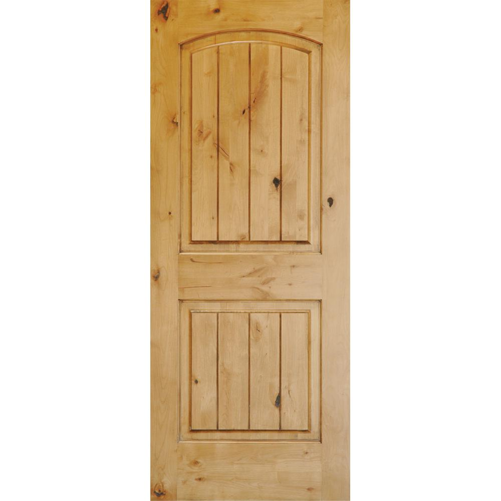 Rustic Top Rail Arch 2 Panel Left Hand Inswing Unfinished Knotty Alder V Grooved Wood Prehung Front Door