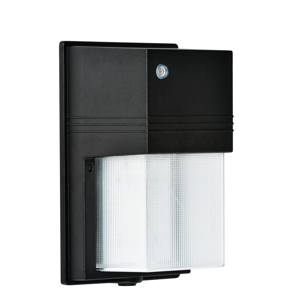25-Watt Black Dusk-to-Dawn Outdoor Integrated LED Wall Pack Light
