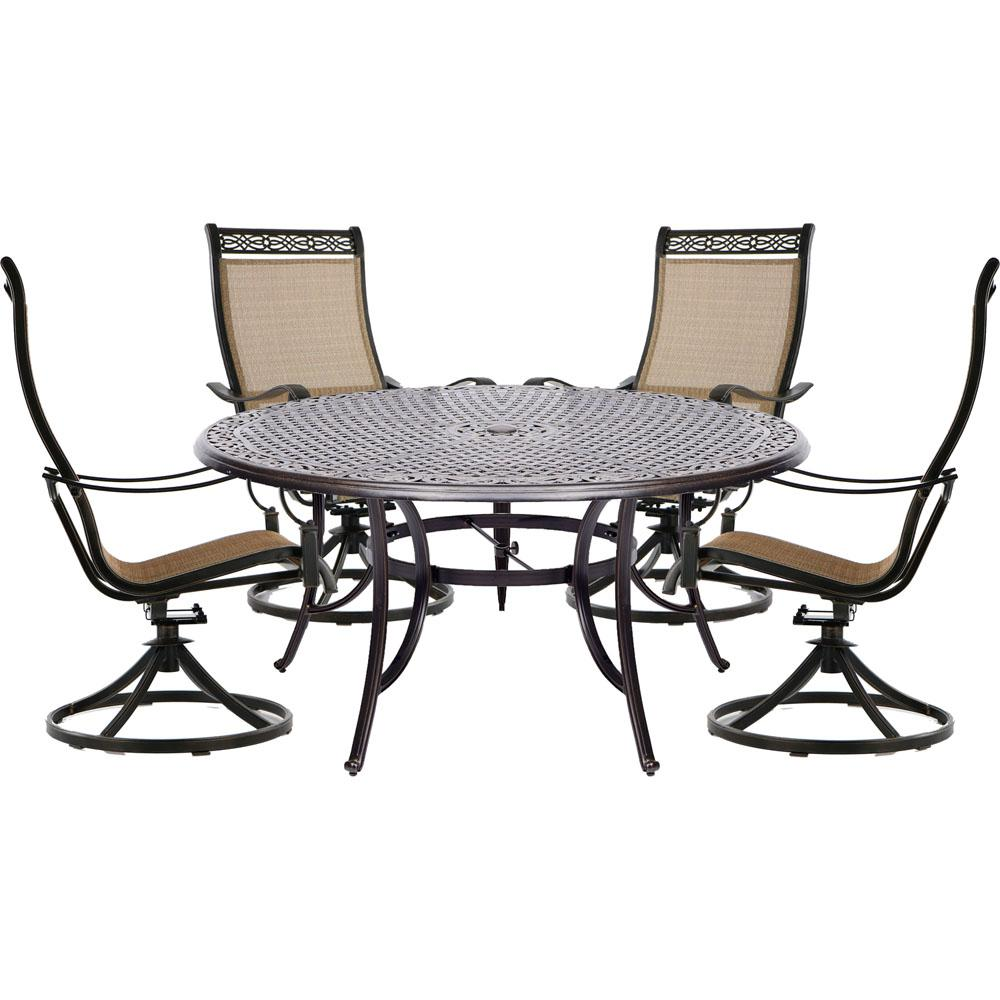 Hanover Manor 5 Piece Aluminum Outdoor Dining Set With 4