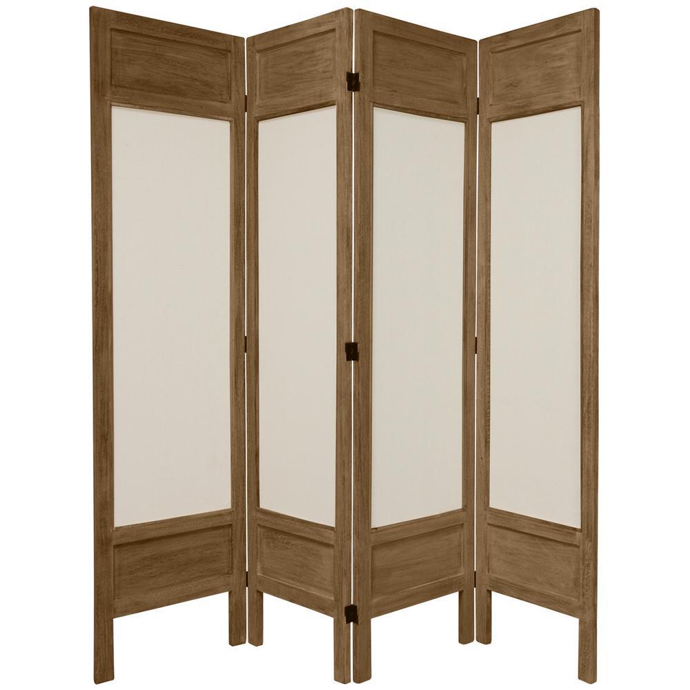 Oriental Furniture 6 Ft Burnt Grey Solid Muslin 4 Panel Room Divider
