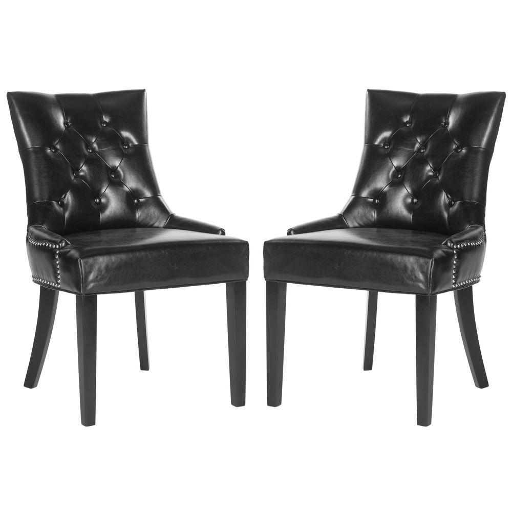 Harlow Black/Espresso Bicast Leather Side Chair (Set Of 2)