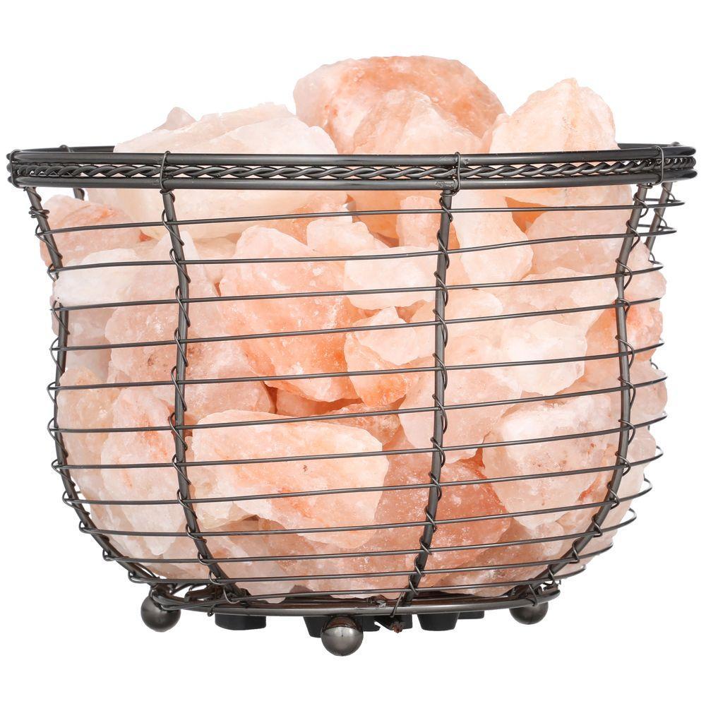 WBM Himalayan 6.75 in. Ionic Crystal Natural Salt 9-11 lbs. Tall Basket Lamp