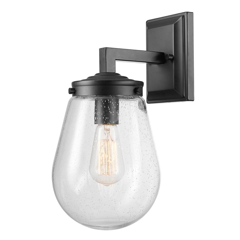 Winston 1-Light Matte Black Outdoor/Indoor Wall Lantern Sconce