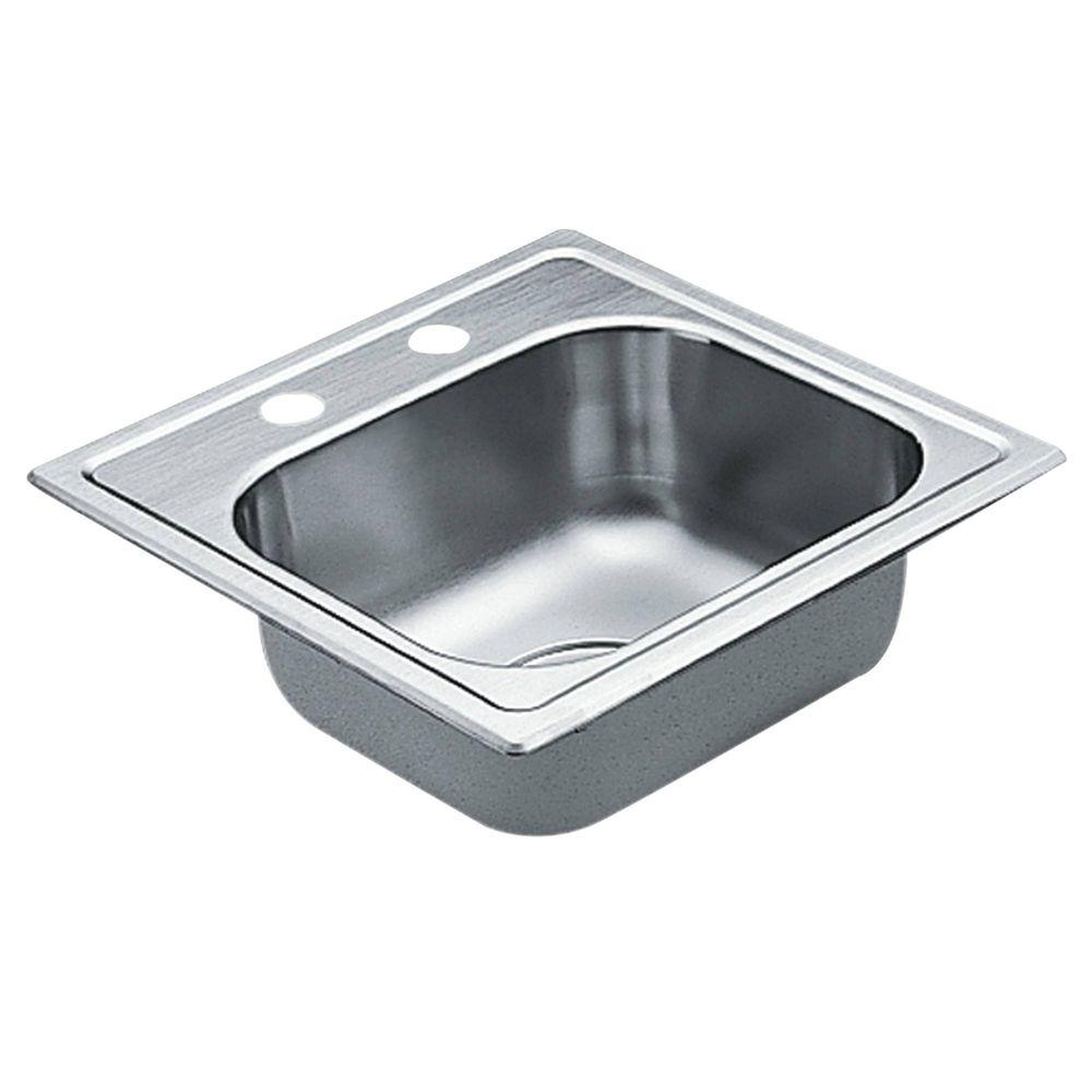 MOEN 2200 Series Drop In Stainless Steel 15 In. 2 Hole Single Bowl Bar Sink G2245622    The Home Depot