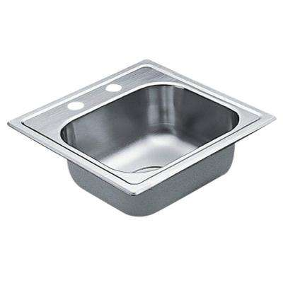 2200 Series Drop-in Stainless Steel 15 in. 2-Hole Bar Single Bowl Kitchen Sink