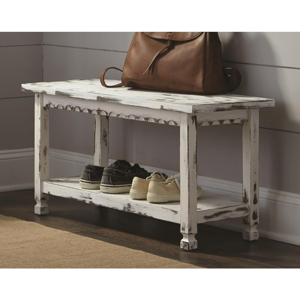 Alaterre Furniture Country Cottage White Antique Bench Acca03wa The Home Depot