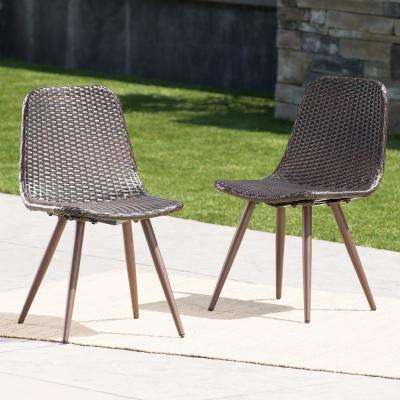 Malia Dark Brown Stationary Wicker Outdoor Dining Chair in Multi-Brown (2-Pack)
