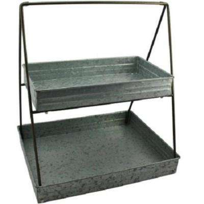 Galvanized Gray Metal 2-Tiered Rectangular Serving Tray
