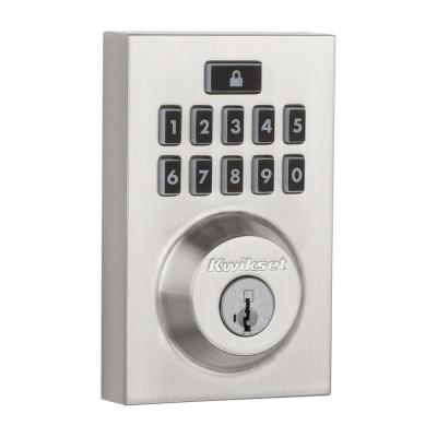 Z-Wave SmartCode 914 Contemporary Single Cylinder Satin Nickel Electronic Deadbolt Featuring SmartKey Security