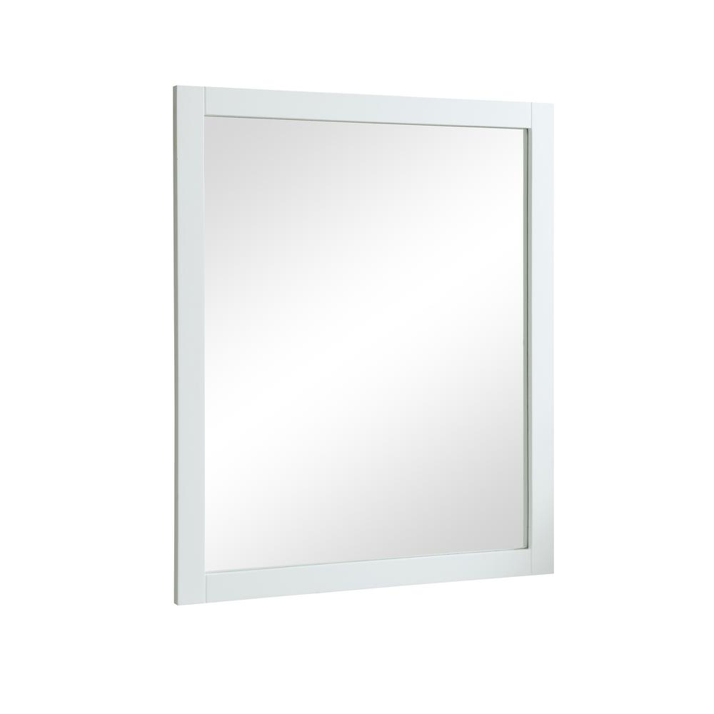 Decor Flair Easton 32 in. Contemporary Mirror with White MDF Frame ...