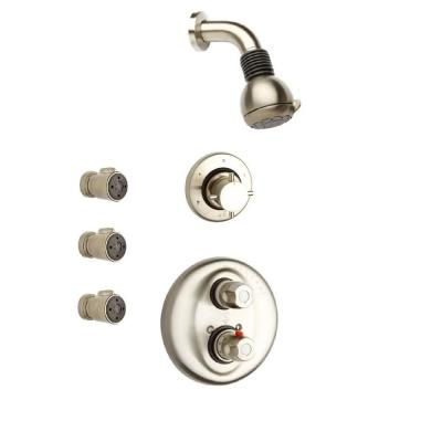 Water Harmony 3-Handle 2-Spray Shower Faucet with 3 Body Jets in Brushed Nickel (Valve Included)