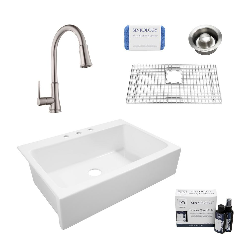 SINKOLOGY Josephine All-in-One Quick-Fit Farmhouse Fireclay 33.85 in. 3-Hole Single Bowl Kitchen Sink with Faucet and Drain