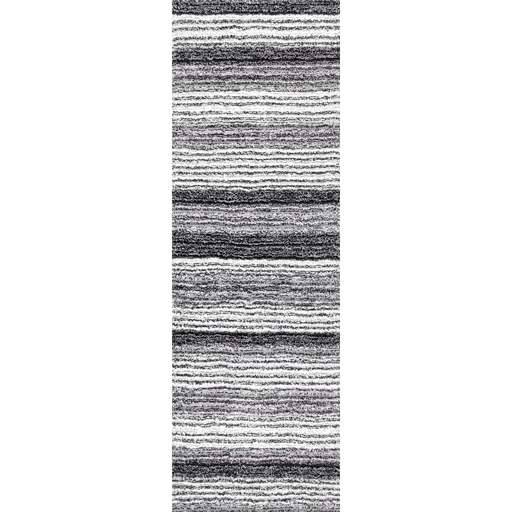 Nuloom Clie Striped Shag Gray Multi 3 Ft X 16 Runner