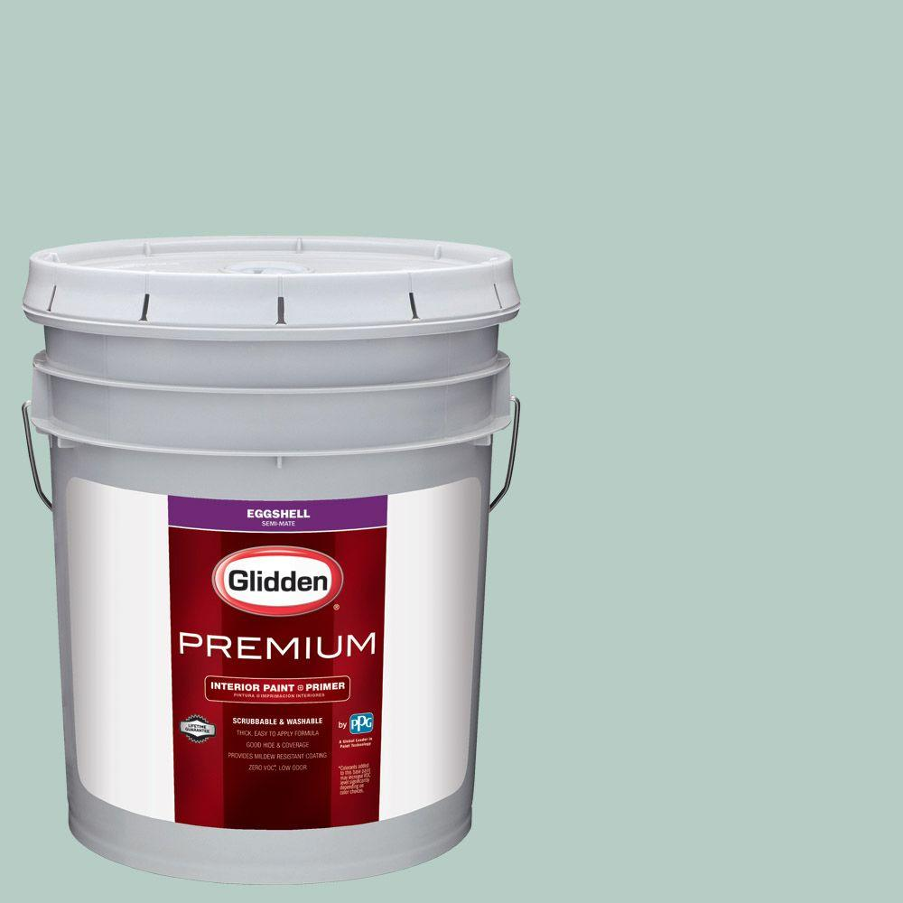 Glidden premium 5 gal hdgb10 opal silk green eggshell interior paint with primer hdgb10p 05en for Glidden premium interior paint reviews