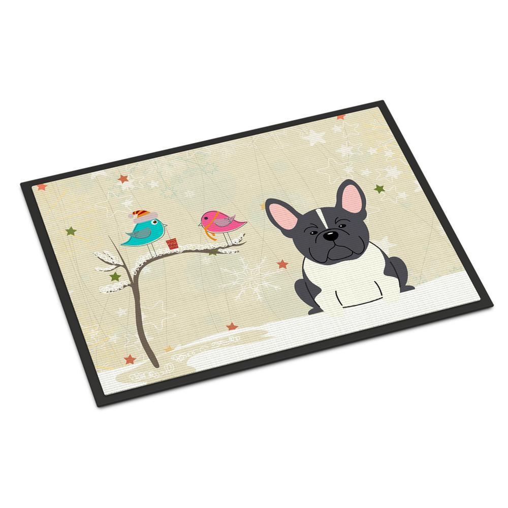18 in. x 27 in. Indoor/Outdoor Christmas Presents between Friends French Bulldog Black White Door Mat