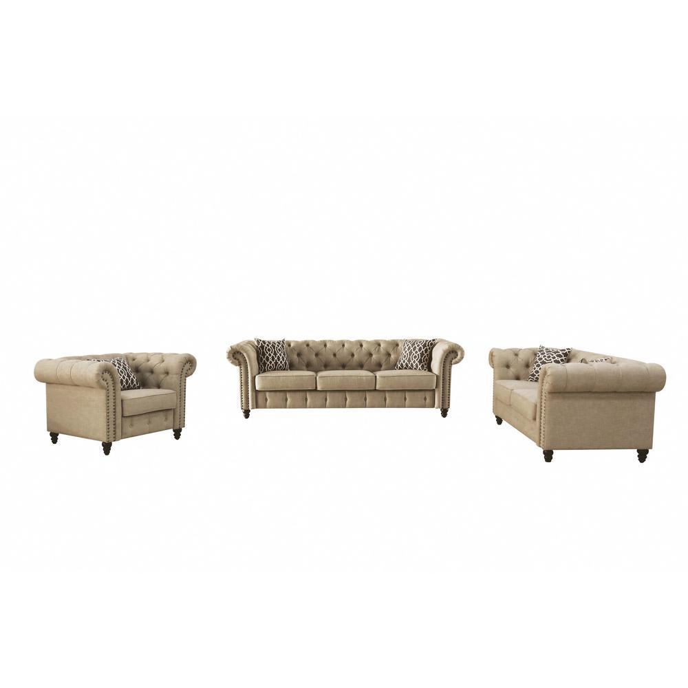 Aurelia Beige Linen Sofa