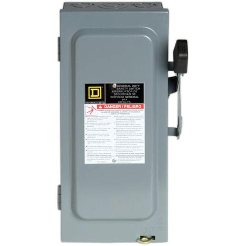 Square D 30 Amp 240-Volt 3-Pole Not Fusible Indoor General Duty Safety Switch