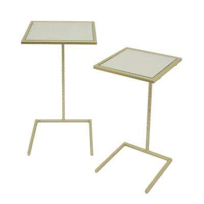 Square Metal Mirror Top Tables Champagne (Set of 2)