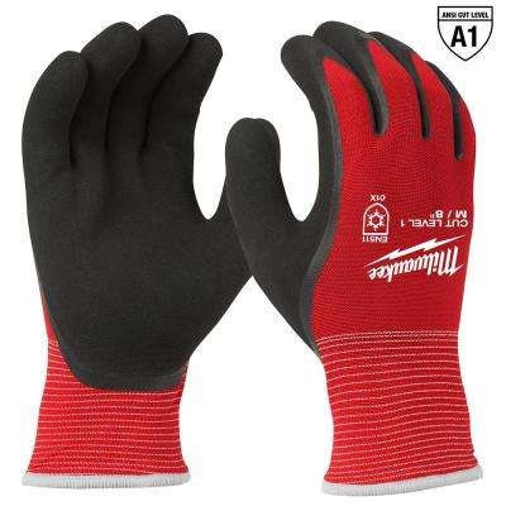Medium Red Latex Dipped Cut 1 Resistant Winter Work Gloves