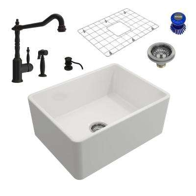 Classico All-in-One Farmhouse Fireclay 24 in. Single Bowl Kitchen Sink with Lesina Rubbed Bronze Faucet and Soap Disp
