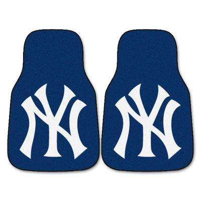 New York Yankees 18 in. x 27 in. 2-Piece Carpeted Car Mat Set