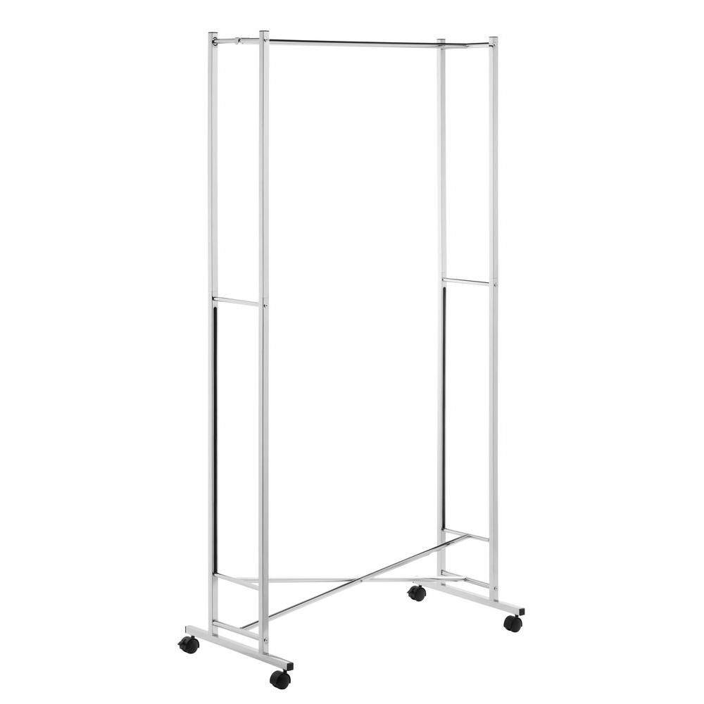 honeycando folding square tube steel rolling garment rack in the home depot