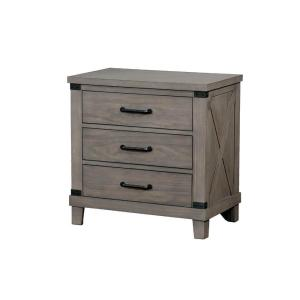 Gray 3-Drawer Solid Wood Nightstand with Crossed Planked Side Panels 28 in. H x 28 in. W x 16.75 in.D