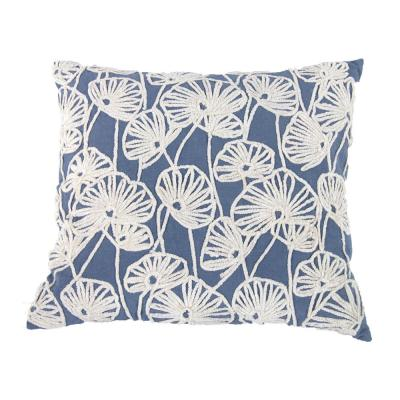 Flora 100% Cotton Embroidered Blue, White 18 in. x 20 in. Throw Pillow