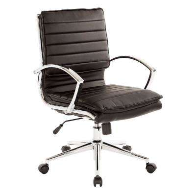 Mid Back Manager's Black Faux Leather Office Chair