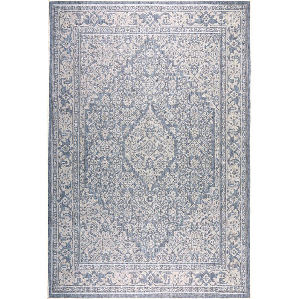 Nicole Miller Patio Country Blue Gray 5 Ft 2 In X 7 Indoor Outdoor Area Rug 5419 340 The Home Depot