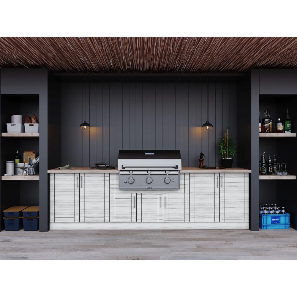 Sanibel Whitewash 17-Piece 121.25 in. x 34.5 in. x 28 in. Outdoor Kitchen Cabinet Set
