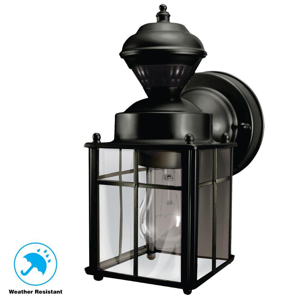 Bayside Mission 150° Black Motion-Sensing Outdoor Lantern