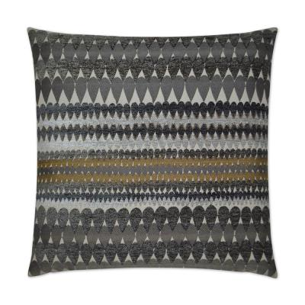 Stormy Grey Geometric Down 24 in. x 24 in. Throw Pillow