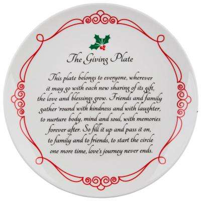 "105"" D Giving Plate with Red Scroll Border"