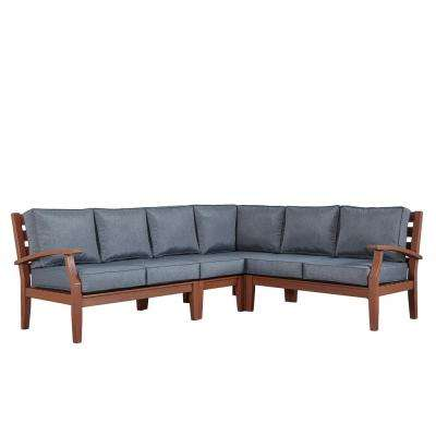 Verdon Gorge Brown 3-Piece Oiled Wood Outdoor Sofa with Gray Cushions