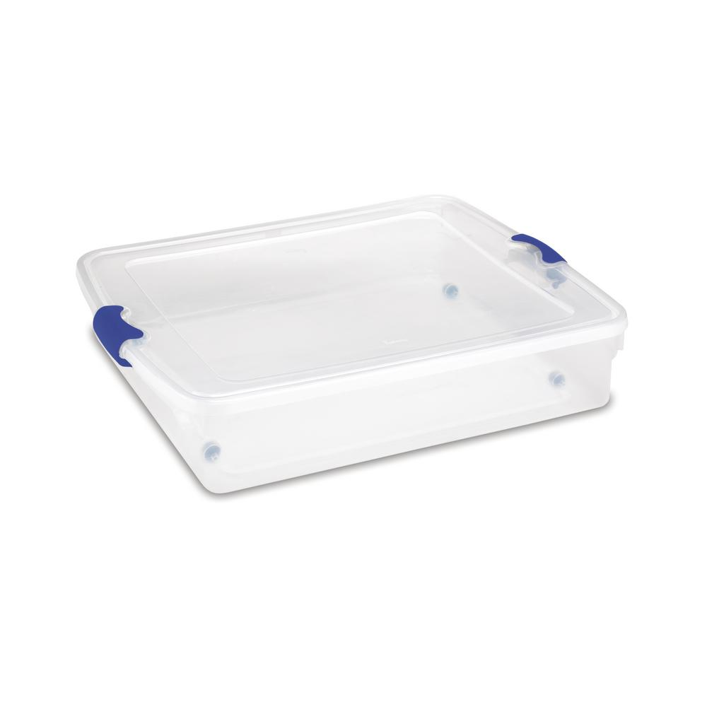 56 Qt. Full/Queen Under Bed Latching Clear Storage Box (2-Pack)