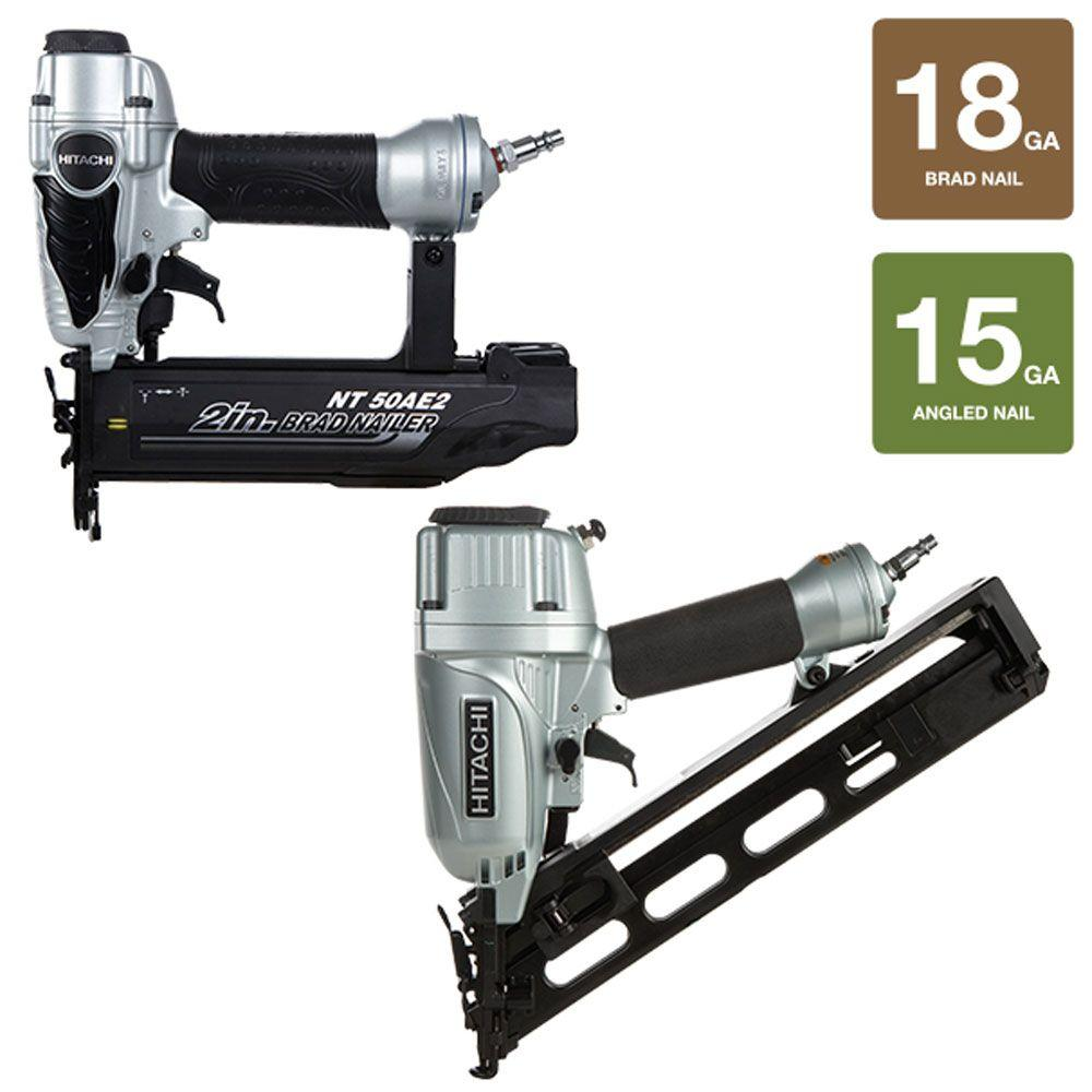 Hitachi 2-Piece 2-1/2 in. x 15-Gauge Angled Finish Nailer with Air Duster and 18-Gauge x 2 in. Finish Nailer Kit
